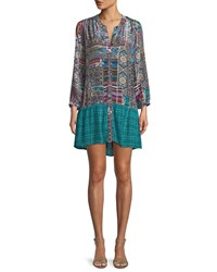 Tolani Alex V Neck Button Front Mixed Print Tunic Dress Teal Multi
