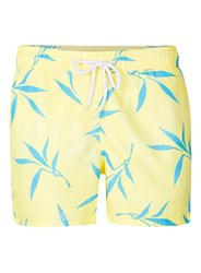 Topman Yellow And Blue Floral Print Swim Shorts