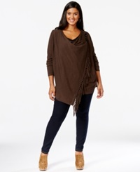 Inc International Concepts Plus Size Fringe Cardigan Only At Macy's Heather Brown