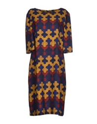 Laura Urbinati Knee Length Dresses Dark Blue