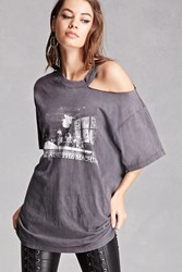 Forever 21 Repurposed Ripped Band Tee Charcoal