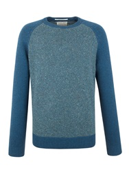 Racing Green Lion Lambswool Blend Crew Neck Knit Blue