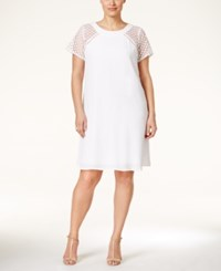 Trixxi Plus Size Crochet Sleeve Shift Dress White