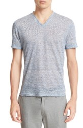 John Varvatos Men's Collection Melange Stripe Burnout Linen T Shirt