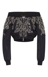 Zuhair Murad Off The Shoulder Nylon Bomber Jacket With Crystal Embroidery Black