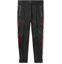 Amiri Slim Fit Tapered Embroidered Webbing Trimmed Tech Jersey Track Pants Black