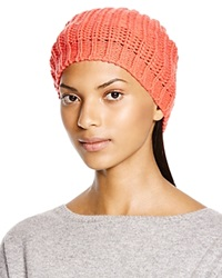 Aqua Chunky Knit Solid Slouchy Hat Coral