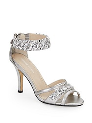 Adrienne Vittadini Gabriel Rhinestone Embellished Metallic Faux Leather Sandals Silver