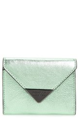 Rebecca Minkoff Molly Metro Metallic Leather Wallet Green Mint