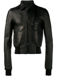 Rick Owens Asymmetric Collar Leather Jacket Black