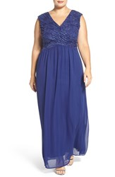Sangria Plus Size Women's Surplice Bodice Lace And Chiffon Gown