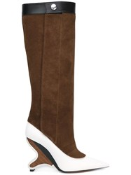 Marni Sculpted Heel Knee High Boots Brown