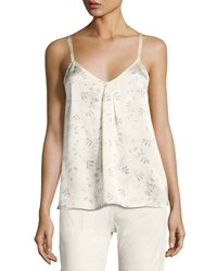 Vince Two Tone Floral Print Silk Camisole Top Sheepskin