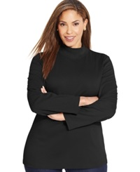 Karen Scott Plus Size Long Sleeve Mock Turtleneck Top Only At Macy's Deep Black
