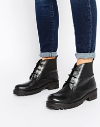 Park Lane Chunky Worker Lace Up Leather Ankle Boots Black