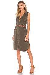 Splendid Wilder Tencel And Chambray Button Up Dress Olive