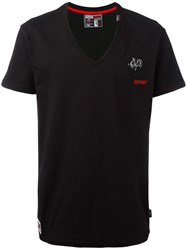 Plein Sport Logo Embroidery V Neck T Shirt Black