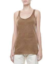 Donna Karan Cashmere Scoop Neck Tank Dark Khaki