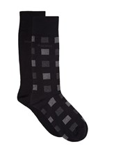 Boss Wool Blend Block Print Socks 2 Pack Male Grey