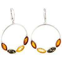 Be Jewelled Amber Hoop Drop Earrings Green Lemon