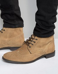 Asos Brogue Boots In Stone Suede With Brown Leather Trims Stone