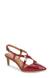 Calvin Klein Paula Pointy Toe Slingback Pump Red Rock Leather