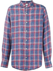Finamore Napoli 1925 Plaid Long Sleeve Shirt Men Linen Flax L Blue