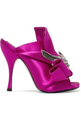 N 21 No. Embellished Knotted Satin Mules Fuchsia