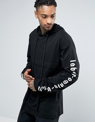 Asos Hooded Oversized Long Sleeve T Shirt With Super Long Printed Slee Black