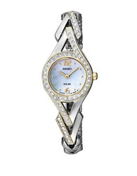 Seiko Ladies Two Tone Jewelry Solar Watch Silver