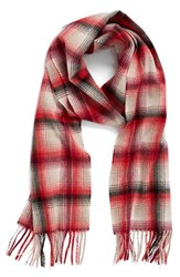 Nordstrom Women's Heritage Plaid Cashmere Scarf Red Combo