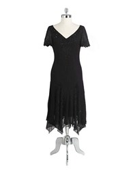 J Kara Plus Beaded Cocktail Dress With Godet Skirt Black