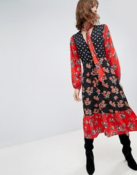Neon Rose Maxi Dress With Tie Neck In Mixed Print Black Multi