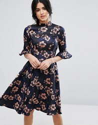 Chi Chi London Floral Jacquard Midi Dress With Fluted Sleeve Multi