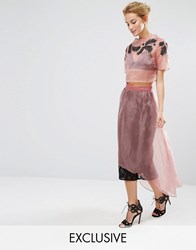Hope And Ivy Midi Skirt In Lace With Organza Overlay Co Ord Pink