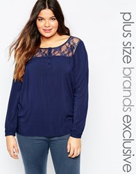Junarose Long Sleeve Blouse With Lace Yoke Navy