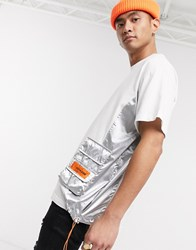 Sixth June T Shirt With Metallic Panels In White