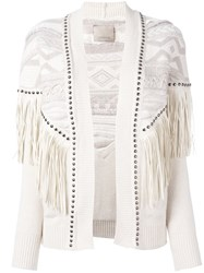 Laneus Fringed Studded Cardigan Nude And Neutrals