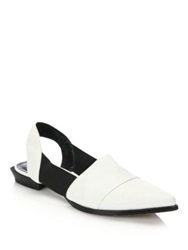 Derek Lam Ainslee Two Tone Leather Mule Flats White Black
