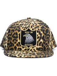 Saint Laurent Leopard Print Cap Brown