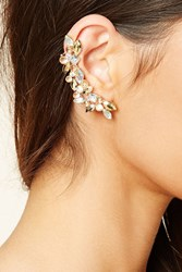 Forever 21 Rhinestone Leaf Ear Cuff Set Gold Peach
