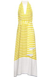 Lemlem Lilly Striped Slub Cotton Blend Dress Yellow