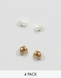 Asos Pack Of 2 Gold Plated And Sterling Silver Knot Stud Earrings Sterling Silver Multi