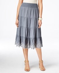Styleandco. Style And Co. Pull On Scallop Hem Skirt Only At Macy's Medium Wash