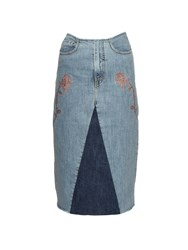 Aries Rose Embroidery Denim Skirt