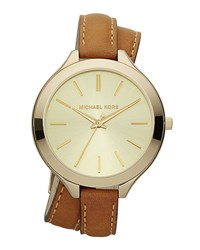Double Wrap Leather Watch Golden Michael Kors Golden Horn