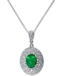 Effy Collection Effy Emerald 1 1 8 Ct. T.W. And Diamond 1 3 Ct. T.W. Pendant Necklace In 14K White Gold