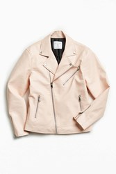 Urban Outfitters Uo Pink Faux Leather Moto Jacket