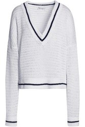 Amanda Wakeley Scale Open Knit Cotton Sweater White