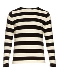 Gucci Striped Cotton Crew Neck Sweater Black Multi